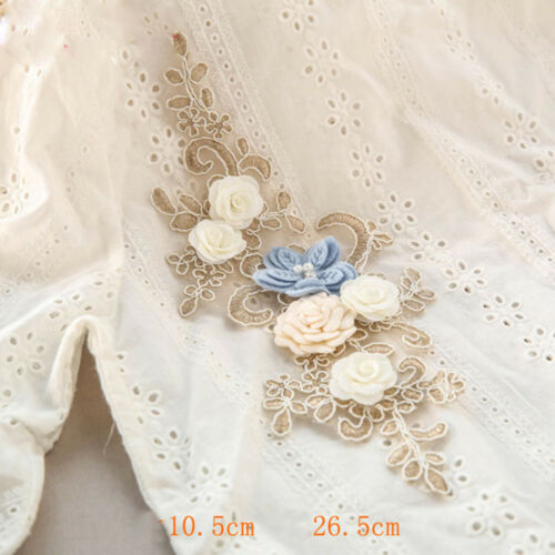 3D Beaded Lace Trim Sew on Corded Gown Applique Embroidery Bridal DIY Motif 1 PC