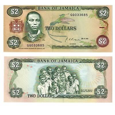 Amerika Jamaica 2 Dollars 1992 Pick 69d Unc.au Papiergeld Welt 3917522##