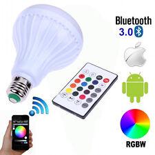 Wireless Bluetooth Speaker Bulb E27 LED Light Music Play Lamp 100-240V W/ Remote