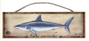 Mako Shark Rustic Wall Sign Plaque Gifts Men Fishing Fishermen Fish