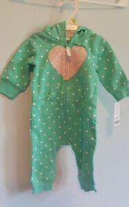 Carter-039-s-baby-girl-hooded-Jumpsuit-mint-3-months