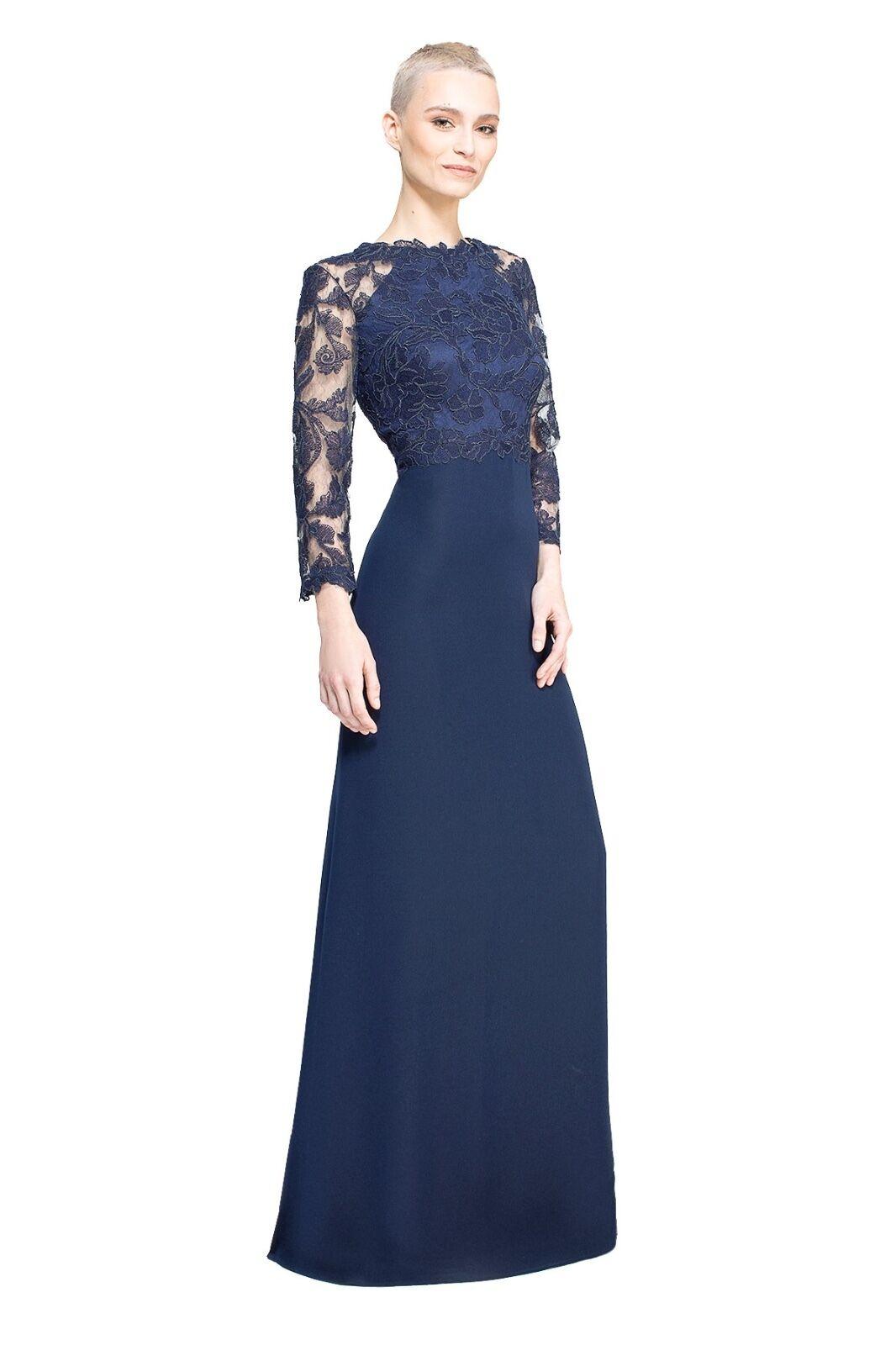 TADASHI SHOJI Peony Embroidered Stretch Crepe Gown Gown Gown NWT  525 Sz 2 Navy blueee 9acb4b