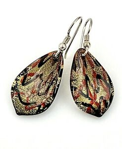 Vintage-Foiled-Dichroic-Glass-Sterling-Silver-Dangling-Teardrop-Wire-Earrings