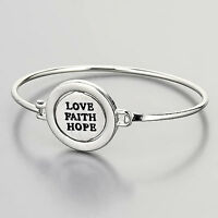 Rhodium Silver Double Sided Flipping Charm Love Faith Hope Engraved Bracelet