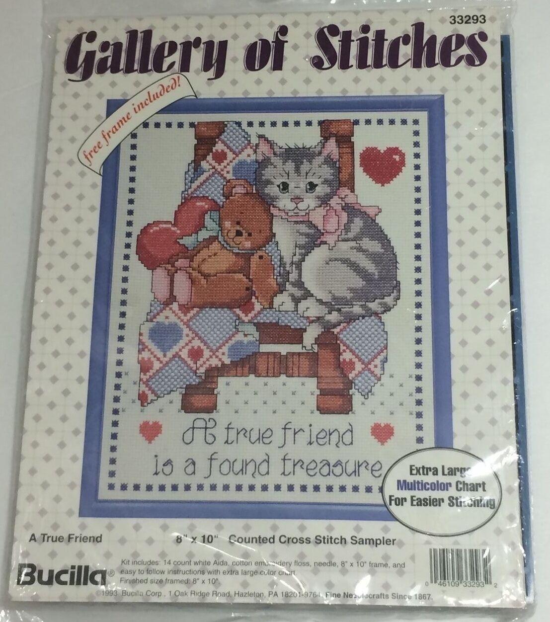 Bucilla Gallery of Stitches a True Friend Cross Stitch Sampler Frame ...