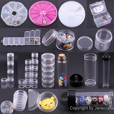 1-12 Compartments Transparent Jewellery Beads Plastic Box Storage Container Case