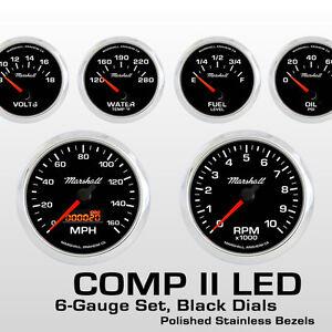 C2 6 Gauge Set, Black Dials, Stainless Bezels, 0-90 Ohm Fuel Level, 2064SS