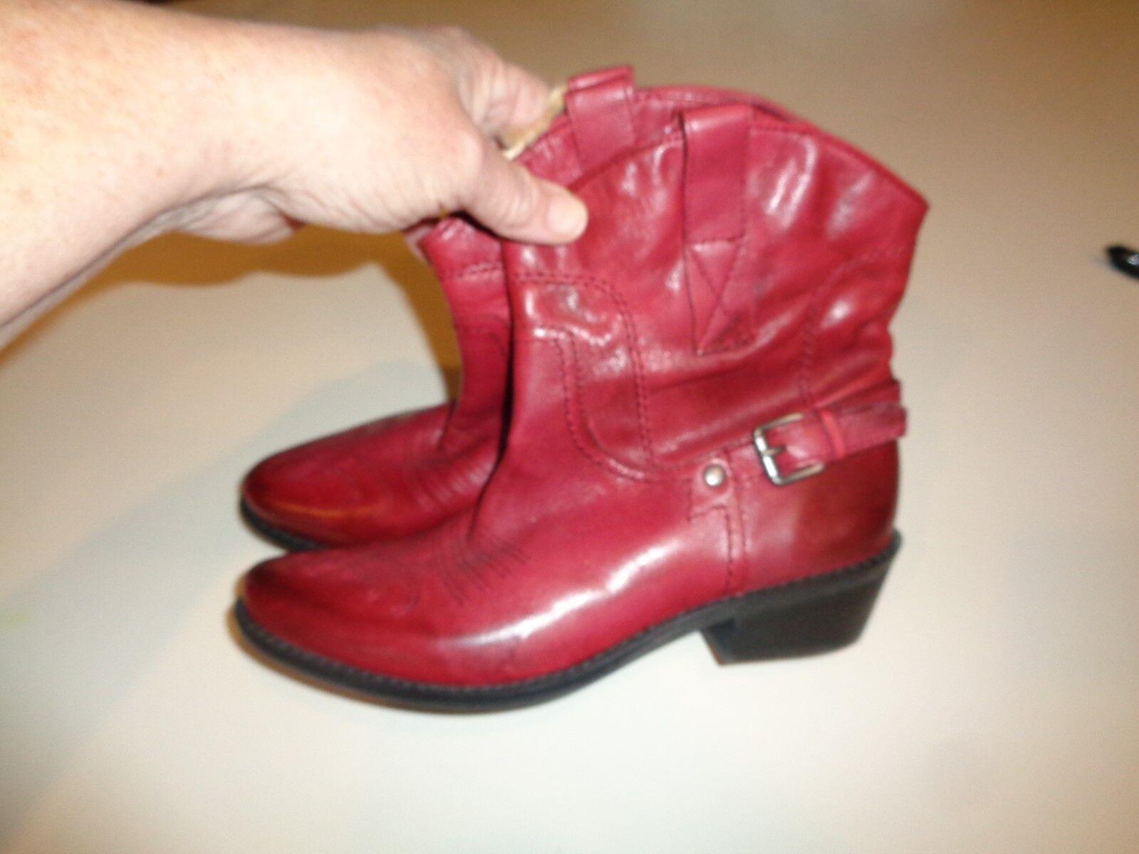 Womens 6 M Franco Sarto 'Waco' Dark Red Ankle Western Cowboy Boots NEW W  TAGS