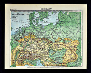Map Of Germany 1871.1871 Guyot Physical Map Germany Austria Hungary Holland Polland