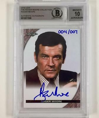 Beckett Bas Bgs 10 Auto Selfless Leaf Roger Moore Collection Autograph Card /007 1/1