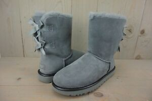 Image is loading UGG-BAILEY-BOW-II-METALLIC-GEYSER-GRAY-SUEDE-