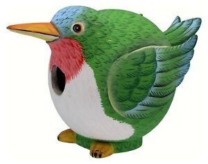 RUBY THROATED HUMMINGBIRD BIRD HOUSE - HUMMINGBIRD BIRDHOUSE - GARDEN DECOR