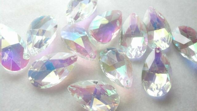 10 AB Iridescent 38mm Teardrop Chandelier Lead Crystals Almond Prisms Pendant
