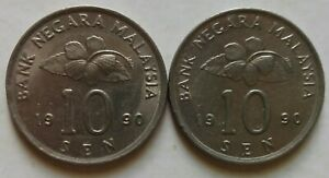 Second Series 10 sen coin 1990 2 pcs