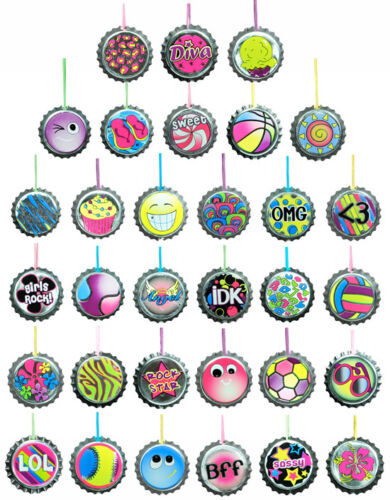 CARNIVALS LOT OF 36 BOTTLE CAP NECKLACES PARTY FAVOR BIRTHDAY GIFTS FAST SHIP