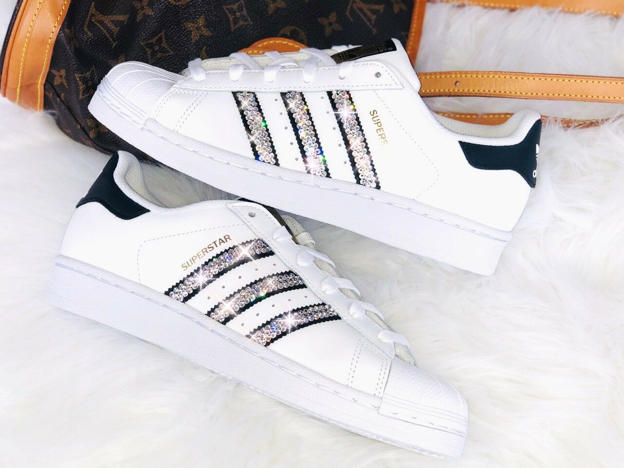 Crystal Adidas Superstar J Luxus Sneakers mit Swarovski Elements white   black