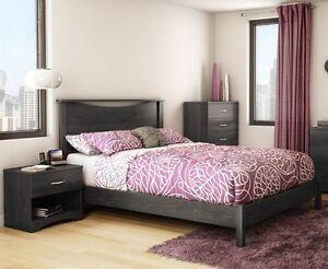 Grey 3 Piece Queen Platform Bed Set Indoor Home Living Bedroom Furniture Decor Ebay
