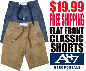 Aerospotale-87-Men-039-s-NWT-Flat-Front-Classic-Shorts-with-Free-Shipping