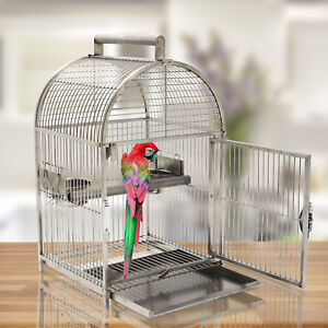 25-034-Bird-Cage-Carrier-Parrot-Travel-Cage-Dome-Top-Stainless-Steel
