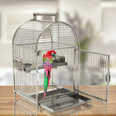 "25"" Bird Cage Carrier Parrot Travel Cage Dome Top Stainless Steel"