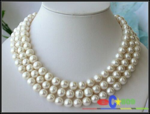 P1552 3ROW 11 mm round white FRESHWATER PEARL NECKLACE