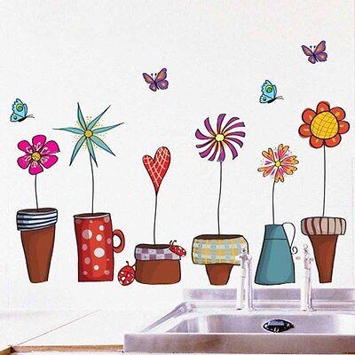 New Pot Plant Butterfly Nature Vinyl Wall Sticker Pvc Home Decor Diy Decoration