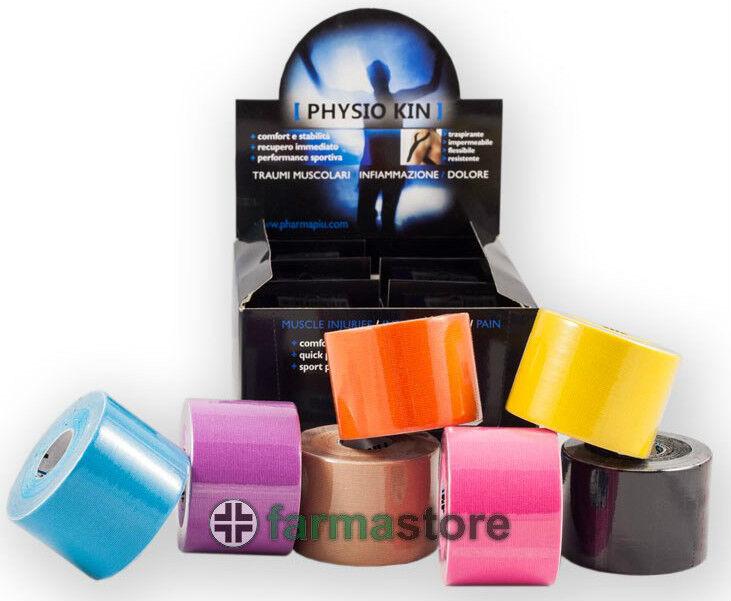 6 rotoli kinesio marca PHYSIO KIN cm 5x5 mt taping neuromuscolare colori assort.