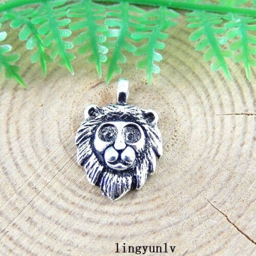 40pcs Vintage Silver Alloy Lion Head Charms Pendant Jewelry Findings 51396