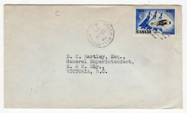 Canada BC British Columbia - South Wellington 1959 CDS Cancel Cover -