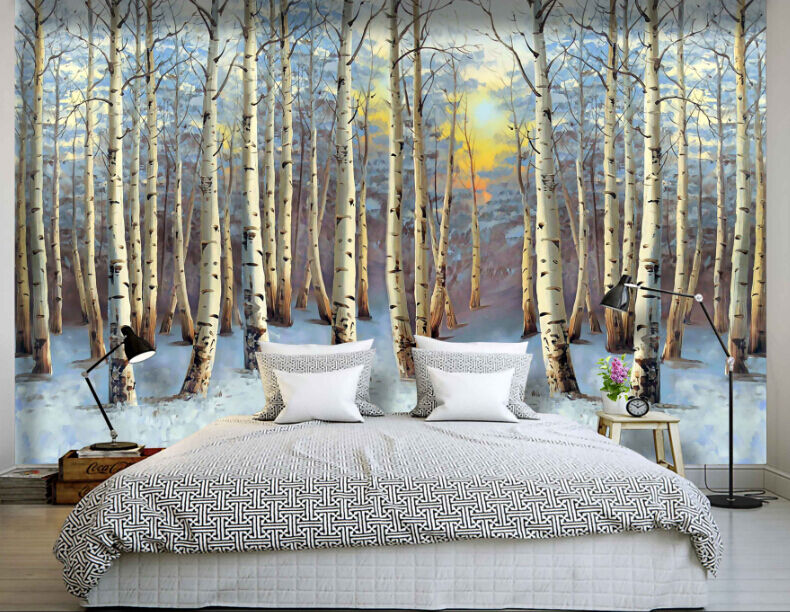 3D Lush Poplar Tree Paper Wall Print Decal Wall Wall Murals AJ WALLPAPER GB