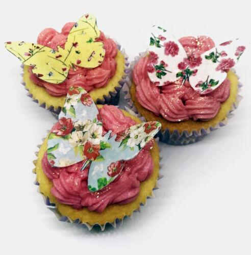 12 mixte vintage fleur papillon comestible gaufre cupcake toppers gâteau décorations