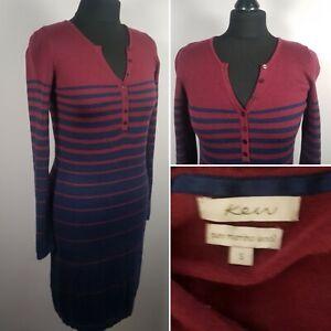 KEW-Merino-Wool-Jumper-Dress-Sz-S-8-10-Red-Blue-Stripe-Smart-Casual-Button-Front