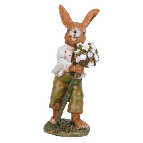 Clayre /& Fed Osterdekoration LAPIN NOSTALGIE shabby lapin 12cm fleurs pâques