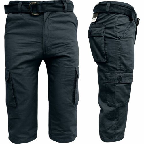 Mens Long Ex-Store Cargo Combat 3//4 Twill Belted Chino Shorts 100/% Cotton 30-42
