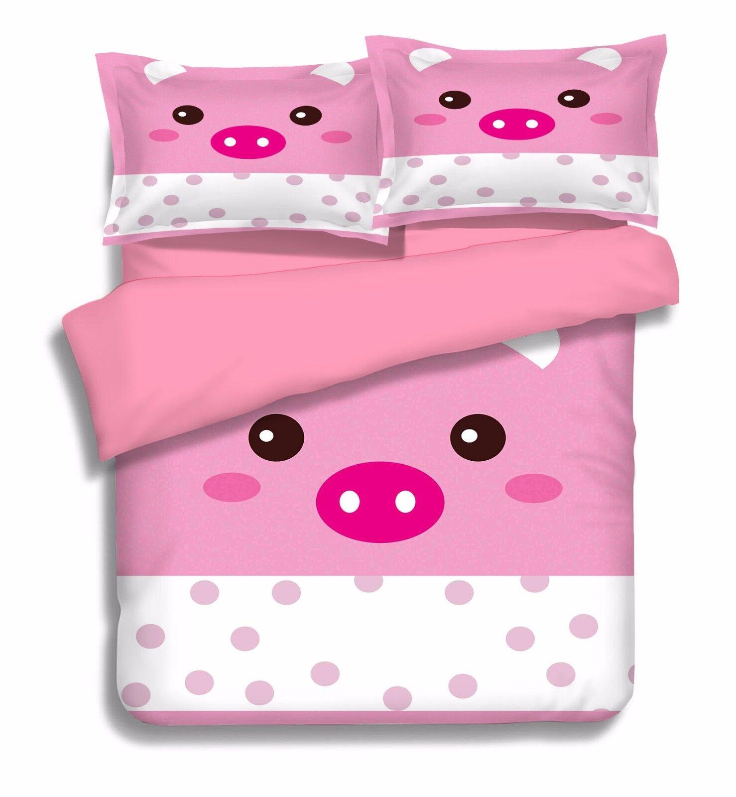 3D Schwein 639 Bett Kissenbezüge steppen Duvet Decken Set Single DE Sunmmer