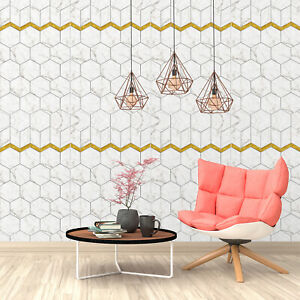 Walplus Marble Effect Tile Self Adhesive Wallpaper With Golden Lining Decal Ebay
