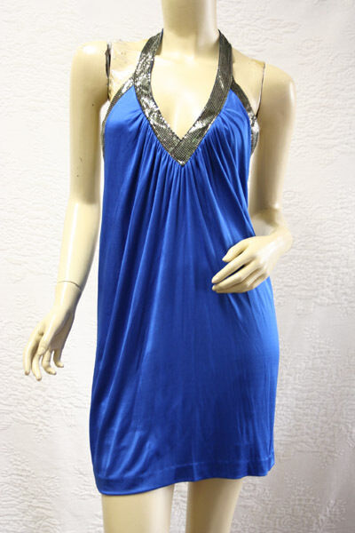 BCBG LARKSPUR blueE  IRT64802  SEQUIN HALTER ACETATE JERSEY DRESS NWT XS