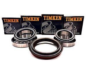 Rear Inner /& Outer Wheel Bearing Kit Timken For Ford F53 F59 2WD Dana Spicer 80