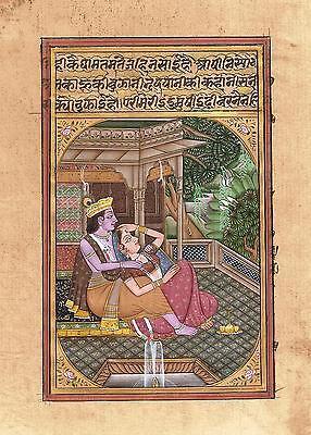 Krishna Radha Art Handmade Indian Pahari Miniature Hindu Ethnic Folk Painting