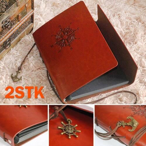 2STK Vintage Notizbuch Tagebuch Lederbuch Heft Reisetagebuch Kladde Blatt A6 DE