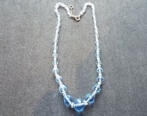 Vintage-amp-Original-Blue-Cut-Glass-Individually-Knotted-Stones-Necklace