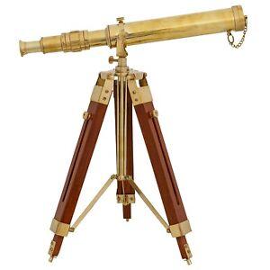 Teleskop-Fernrohr-Fernglas-Messing-mit-Holz-Stativ-45cm-Antik-Stil