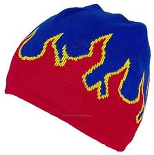 MG Adult Flames Design Beanie Skull Cap W/Fleece Lining, #730 Blue/Red