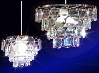 Funky 60s 70s Style Clear Disc Effect Pendant Chandelier Light/shade /uk
