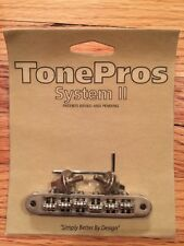 TonePros Nashville Tune-O-Matic Bridge With Roller Saddles TP6R-AN (Aged Nickel)