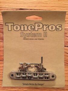 TonePros-Nashville-Tune-O-Matic-Bridge-avec-roller-saddles-TP6R-AN-Nickel-Vieilli