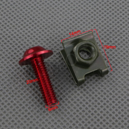 10pcs M6 Alloy Motorcycle Fairings Bolts Kits Fastener Clips Screw Spring Nuts