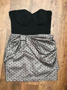 LIPSY-Strapless-Bandeau-Bustier-Style-Dress-UK-10-Black-amp-Beige-with-Net-Mesh