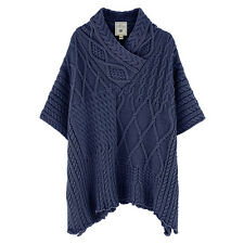 Aran Traditions Womens Ladies Navy Cable Knit Style Poncho Shawl Winter Warm