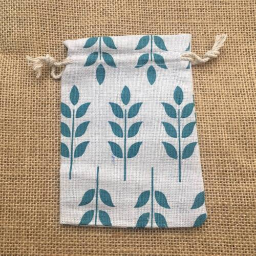10Pcs Small Jewelry Pouches Cotton Gift Bags Wedding Favors Drawstring Linen